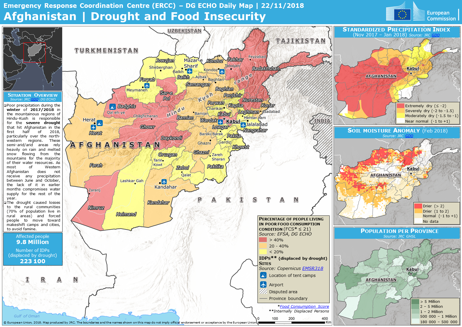Overall Red Drought alert for Afghanistan-Balochistan-2018 in