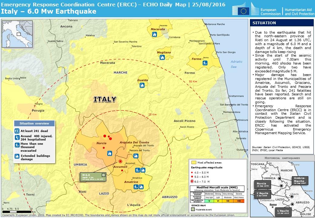 Overall Green Earthquake alert in Italy on 24 Aug 2016 01:36 UTC