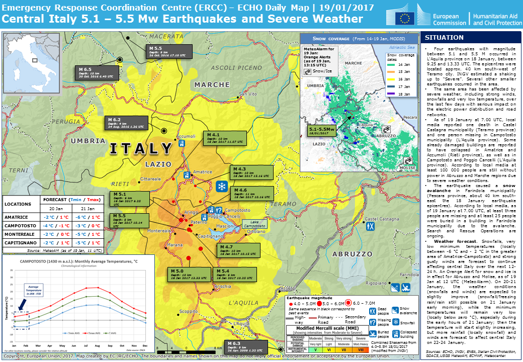 Overall Green Earthquake Alert In Italy On Jan UTC - Italy earthquake map