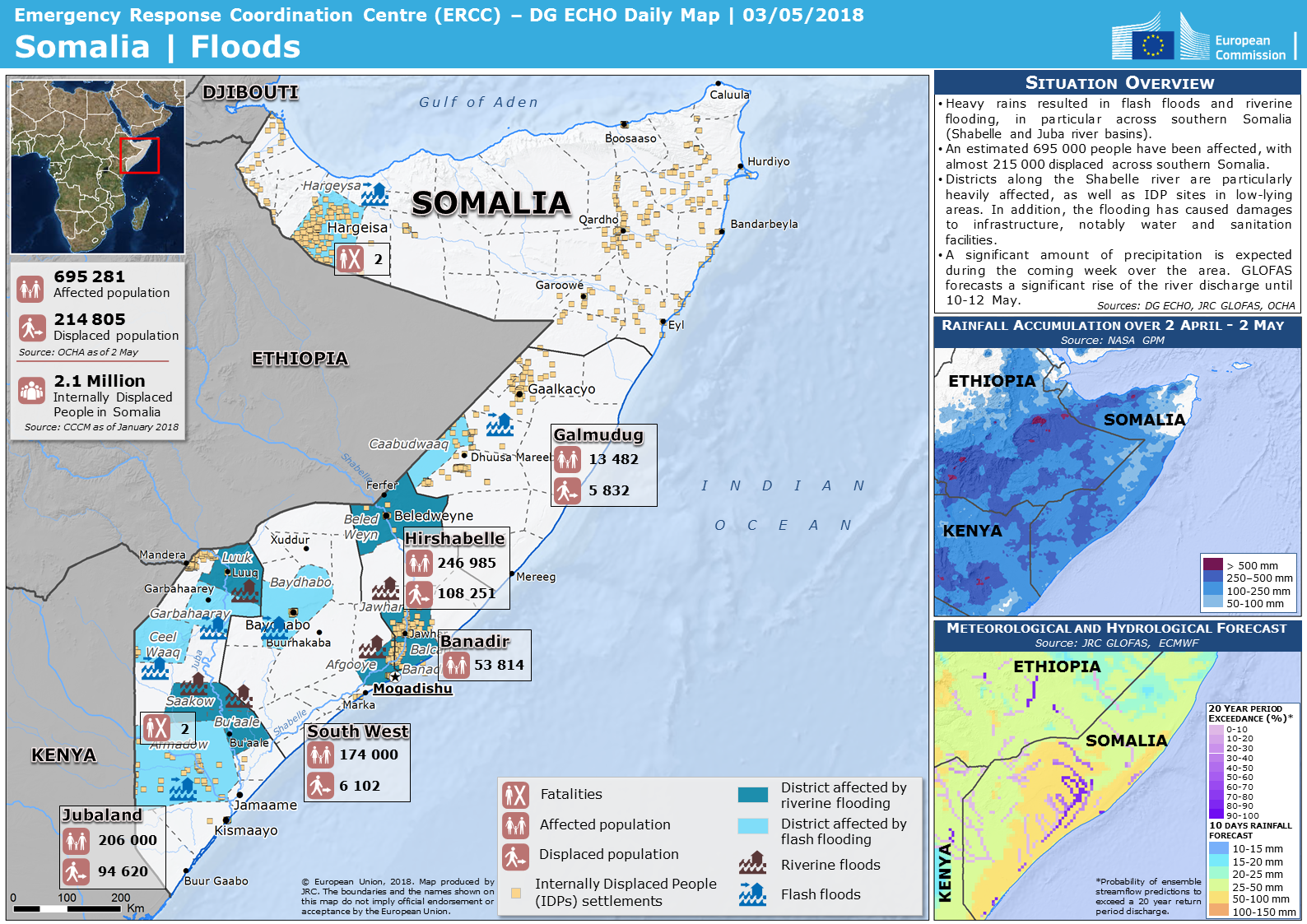 Overall Green Flood alert in Somalia from 29 Apr 2018 00:00