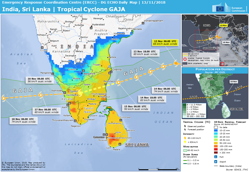 Overall Red Tropical Cyclone alert for GAJA-18 in India from 10 Nov