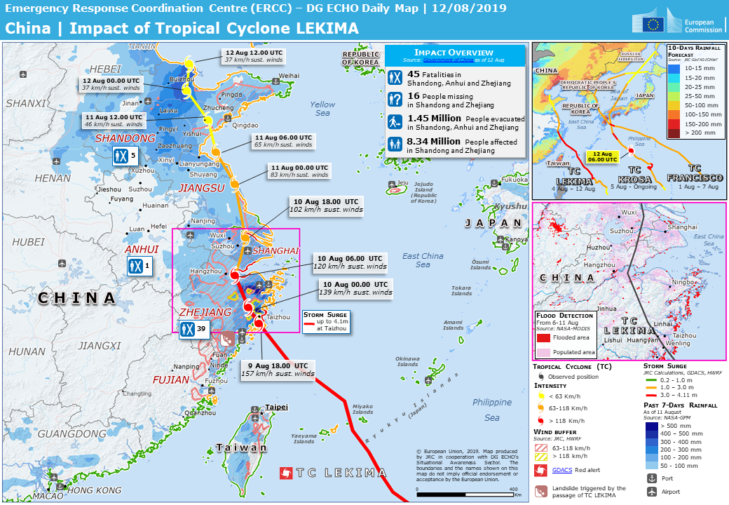 Overall Red Tropical Cyclone alert for LEKIMA-19 in China