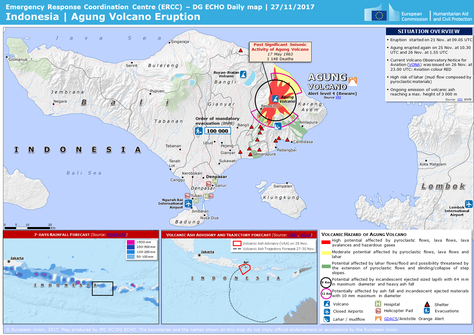 Overall Orange Volcanic Eruption Alert For Agung In Indonesia On 26