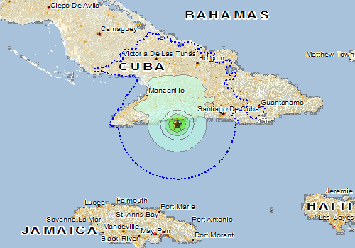 Overall Green Earthquake alert in Cuba from 17 Jan 2017 09