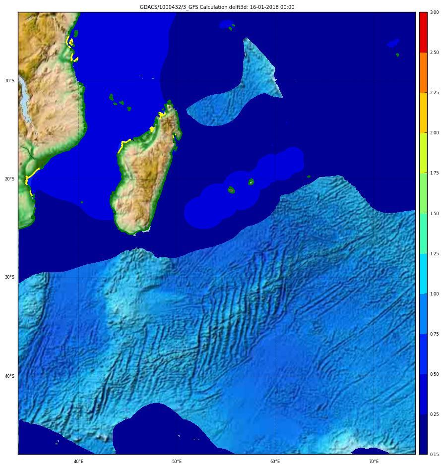 Storm surge maximum height GFS