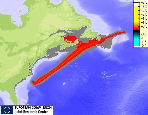 Storm surge maximum height