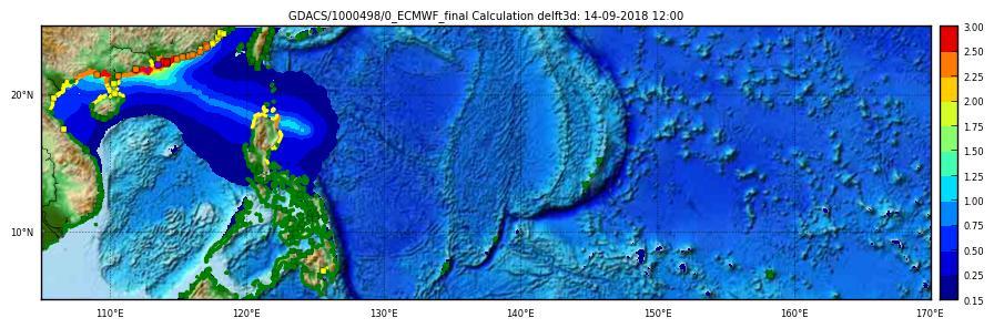 Storm surge maximum height ECMWF