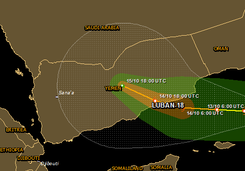 Overall Green Tropical Cyclone alert for LUBAN-18 in Yemen