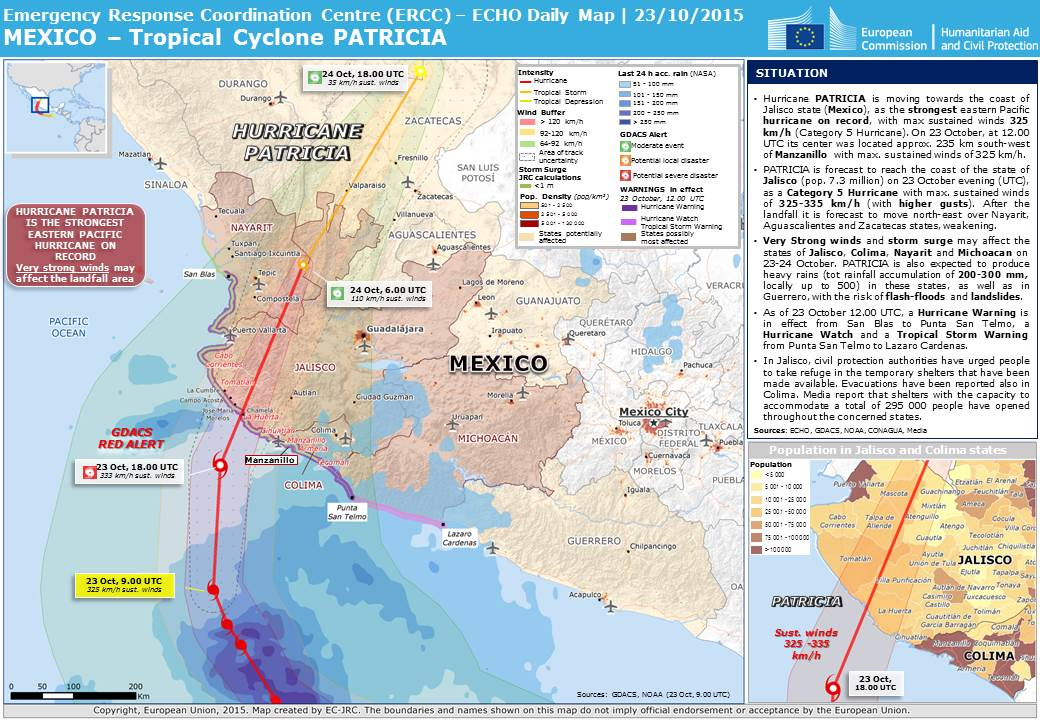 Overall Red Tropical Cyclone alert for PATRICIA15 from 20 Oct
